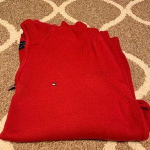 Large Tommy Hilfiger Red Quarter-Zip Sweater
